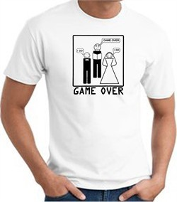 Game Over Marriage Ceremony T-shirt Funny White Tee