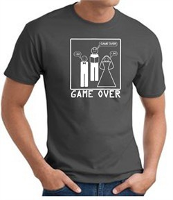 Game Over Marriage Ceremony T-shirt Funny Charcoal Tee