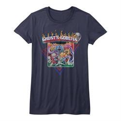 Ghost'N Goblins Shirt Juniors Logo Navy Blue T-Shirt