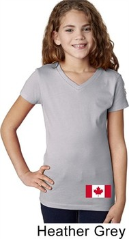 Girls Canada Tee Canadian Flag Bottom Print V-neck Shirt
