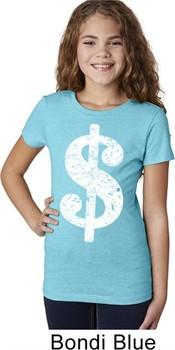 Girls Funny Shirt Distressed Dollar Sign Tee T-Shirt
