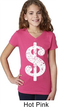 Girls Funny Shirt Distressed Dollar Sign V-Neck Tee T-Shirt