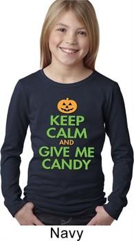 Girls Halloween Shirt Keep Calm and Give Me Candy Long Sleeve Tee T-Shirt