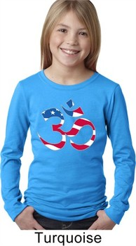Girls Yoga Shirt Patriotic Om Long Sleeve Tee T-Shirt