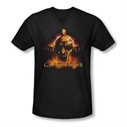Gladiator Shirt Slim Fit V Neck My Name Is Black Tee T-Shirt