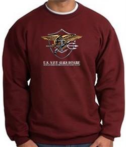 U.S. Navy Seal Crewneck Sweatshirt ? Devgru Adult Pullover Maroon