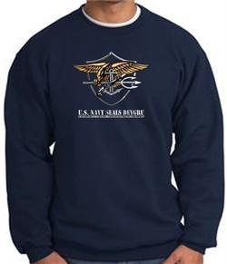 U.S. Navy Seal Crewneck Sweatshirt ? Devgru Adult Pullover Navy Blue