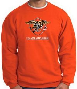 U.S. Navy Seal Crewneck Sweatshirt ? Devgru Adult Pullover Orange