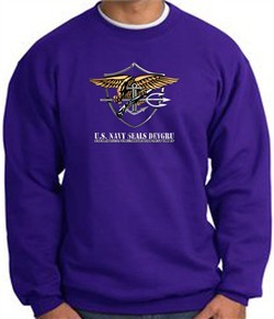 U.S. Navy Seal Crewneck Sweatshirt ? Devgru Adult Pullover Purple