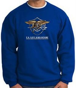 U.S. Navy Seal Crewneck Sweatshirt ? Devgru Adult Pullover Royal Blue