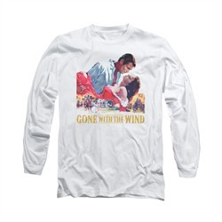 Gone With The Wind Shirt On Fire Long Sleeve White Tee T-Shirt