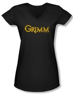 Grimm Shirt Slim Fit V Neck Gold Logo Black Tee T-Shirt