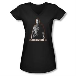 Halloween II Shirt Juniors V Neck Michael Myers Black Tee T-Shirt