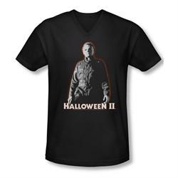 Halloween II Shirt Slim Fit V Neck Michael Myers Black Tee T-Shirt