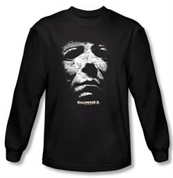 Halloween II T-shirt Movie Michael Myers Adult Black Long Sleeve Shirt