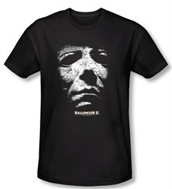 Halloween II T-shirt Movie Michael Myers Adult Black Slim Fit Shirt