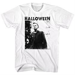 Halloween Shirt Michael Myers Watching  White T-Shirt