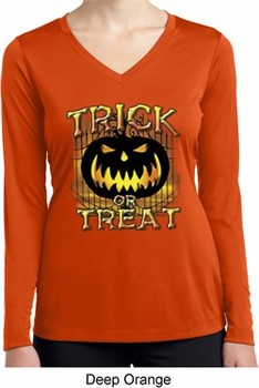 Halloween Trick or Treat Ladies Dry Wicking Long Sleeve Shirt