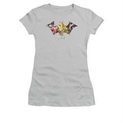 Harley Quinn Shirt Juniors Sirens Bat Symbol Silver T-Shirt