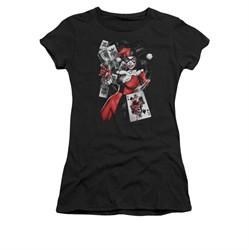 Harley Quinn Shirt Juniors Smoking Gun Black T-Shirt
