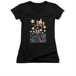 Harley Quinn Shirt Juniors V Neck Hammer Time Black T-Shirt