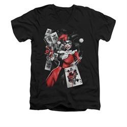 Harley Quinn Shirt Slim Fit V-Neck Smoking Gun Black T-Shirt