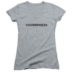 Hummer Juniors V Neck Shirt Distressed Logo Athletic Heather T-Shirt