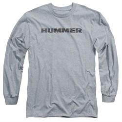 Hummer Long Sleeve Shirt Distressed Logo Athletic Heather Tee T-Shirt