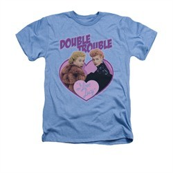 I Love Lucy Shirt Double Trouble Adult Heather Light Blue Tee T-Shirt