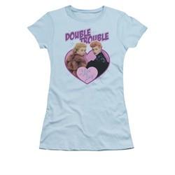 I Love Lucy Shirt Double Trouble Juniors Light Blue Tee T-Shirt