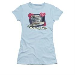 I Love Lucy Shirt Work Of Art Juniors Light Blue Tee T-Shirt
