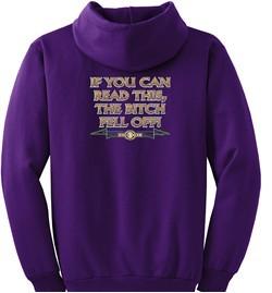 Biker Hoodie Hooded Sweatshirt The Bitch Fell Off Purple Hoody
