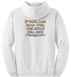 Biker Hoodie Hooded Sweatshirt The Bitch Fell Off White Hoody