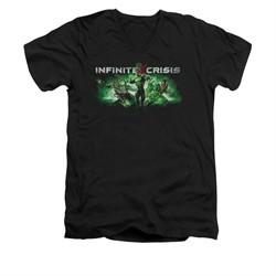 Infinite Crisis Shirt Slim Fit V-Neck Green Lantern Black T-Shirt