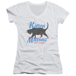 It's Always Sunny In Philadelphia Juniors V Neck Shirt Kitten Mittons White T-Shirt