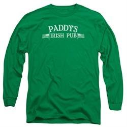 It's Always Sunny In Philadelphia Long Sleeve Shirt Paddys Logo Kelly Green Tee T-Shirt