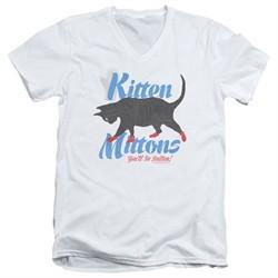 It's Always Sunny In Philadelphia Slim Fit V-Neck Shirt Kitten Mittons White T-Shirt