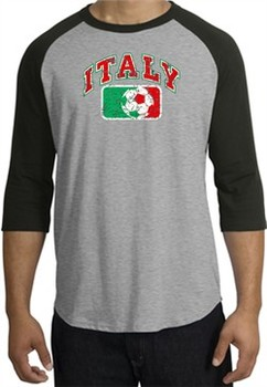 Italian Shirt Italy Soccer Futbol Raglan Tee Heather Grey/Black