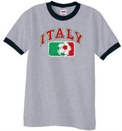 Italian Shirt Italy Soccer Futbol Ringer Tee Heather Grey/Black