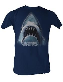 Jaws T-Shirt Jaws Shark Head Logo Adult Navy Tee Shirt
