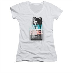 James Dean Shirt Juniors V Neck Graphic Rebel Silver T-Shirt