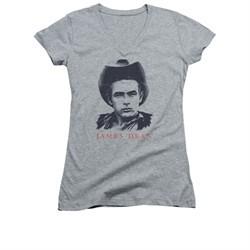 James Dean Shirt Juniors V Neck New Cowboy Athletic Heather T-Shirt