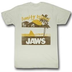 Jaws Shirt Amity Island Adult Dirty White Tee T-Shirt