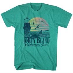 Jaws Shirt Amity Island Welcomes You! Green Heather T-Shirt