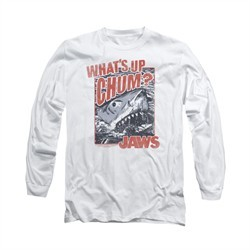 Jaws Shirt Block Chum Long Sleeve White Tee T-Shirt
