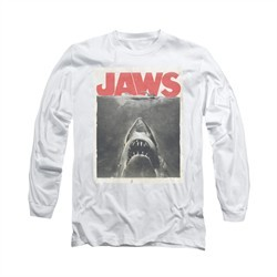 Jaws Shirt Block Classic Fear Long Sleeve White Tee T-Shirt