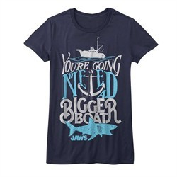 Jaws Shirt Juniors Bigger Boat Navy T-Shirt