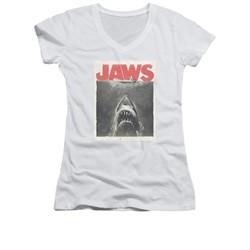 Jaws Shirt Juniors V Neck Block Classic Fear White T-Shirt