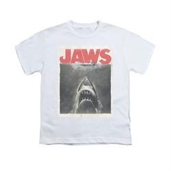 Jaws Shirt Kids Block Classic Fear White T-Shirt