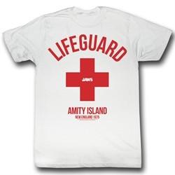 Jaws Shirt Lifeguard Adult White Tee T-Shirt